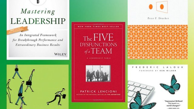 Collage of book covers of top leadership books recommended by Shine Coaching