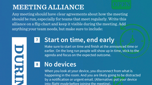 Infographic on how to run effective meetings with tips before, during and after the meeting