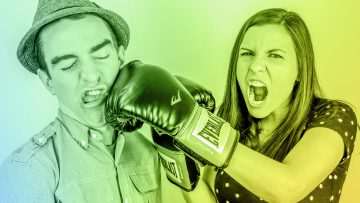 Woman with boxing glove beating a man next to her representing contempt, one of the 4 toxins of teamwork